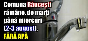 Comuna Răucești rămâne, de marți până miercuri (2-3 august), fără apă