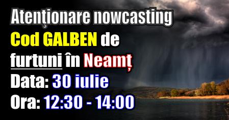 Zona de munte a județului Neamț intră sub cod Galben de furtuni până la ora 14:00