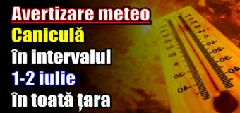 Avertizare meteo – Caniculă în intervalul 1-2 iulie în toată țara