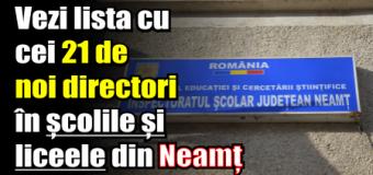 Vezi lista cu cei 21 de noi directori în școlile și liceele din Neamț