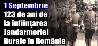 1 Septembrie – 123 de ani de la înfiinţarea Jandarmeriei Rurale în România