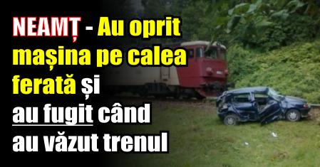 NEAMȚ – Autoturism lovit de tren. Cei din mașină au apucat să iasă înainte de impact