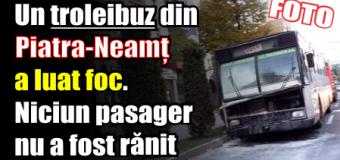 Un troleibuz din Piatra-Neamț a luat foc. Niciun pasager nu a fost rănit