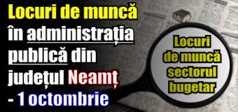 Locuri de muncă în administrația publică din județul Neamț – 1 octombrie