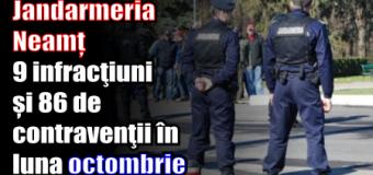 Jandarmeria Neamț – 9 infracţiuni și 86 de contravenţii în luna octombrie
