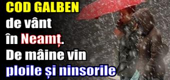 ANM – Azi, COD GALBEN de vânt în Neamț. De mâine vin ploile și ninsorile