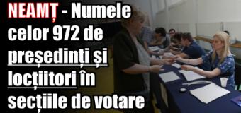 NEAMȚ – Numele celor 972 de președinți și locțiitori în secțiile de votare