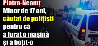 Piatra-Neamț – Minor de 17 ani, căutat de polițiști pentru că a furat o mașină și a intrat cu ea într-un stâlp