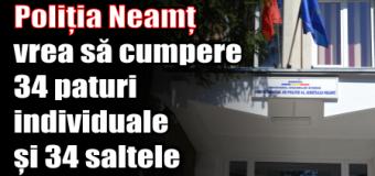 Poliția Neamț vrea să cumpere 34 paturi individuale și 34 saltele