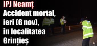 IPJ Neamț – Accident mortal, ieri (6 noiembrie), în localitatea Grințieș