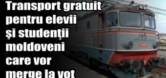 Transport gratuit pentru elevii şi studenţii moldoveni care vor merge la vot