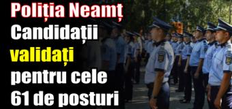 Poliția Neamț – Candidații validați pentru cele 61 de posturi