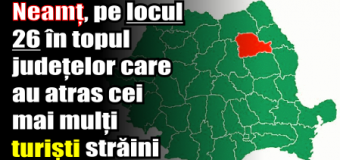 Neamț, pe locul 26 în topul județelor care au atras cei mai mulți turiști străini