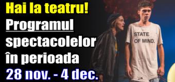 Hai la teatru! Programul spectacolelor în perioada 28 noiembrie – 4 decembrie