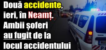 Două accidente, ieri (28 noiembrie), în Neamț. Ambii șoferi au fugit de la locul accidentului