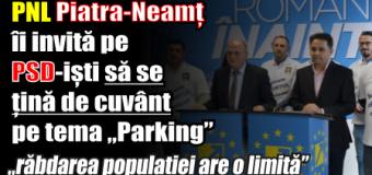 """PNL Piatra-Neamț îi invită pe PSD-iști să se țină de cuvânt pe tema """"Parking"""""""