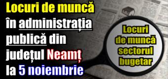 Locuri de muncă în administrația publică din județul Neamț – 5 noiembrie