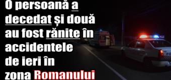 O persoană a decedat și două au fost rănite în accidentele de ieri (25 decembrie), în zona Romanului
