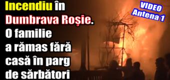 Incendiu în localitatea Dumbrava Roşie. O familie a rămas fără casă în parg de sărbători