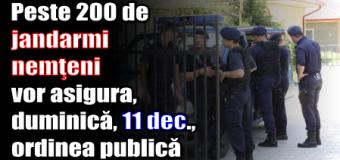 Peste 200 de jandarmi nemţeni vor asigura, duminică (11 decembrie), ordinea publică
