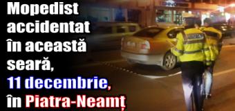 Mopedist accidentat în această seară (11 decembrie) în Piatra-Neamț