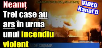 Neamț – Trei case au ars în urma unui incendiu violent