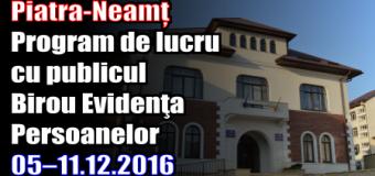 Piatra-Neamț – Program de lucru cu publicul Birou Evidenţa Persoanelor în perioada 05–11.12.2016