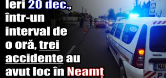 Ieri (20 decembrie), într-un interval de o oră, trei accidente au avut loc în Neamț