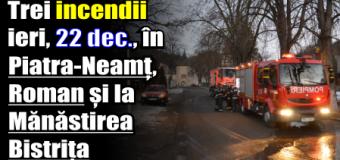 Trei incendii ieri (22 decembrie), în Piatra-Neamț, Roman și la Mănăstirea Bistrița