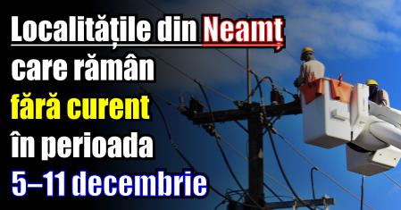 Localitățile din Neamț care rămân fără curent în perioada 5 – 11 decembrie