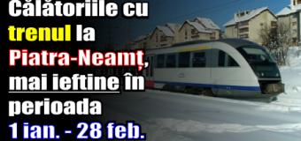 Călătoriile cu trenul la Piatra-Neamț, mai ieftine în perioada 1 ianuarie – 28 februarie 2017