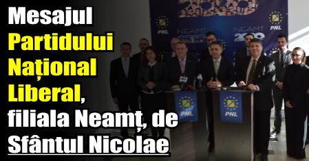 Mesajul Partidului Național Liberal, filiala Neamț, de Sfântul Nicolae