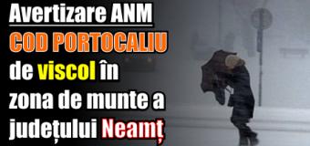 Avertizare ANM – COD PORTOCALIU de viscol în zona de munte a județului Neamț