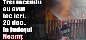 Trei incendii au avut loc ieri (20 decembrie) în județul Neamț