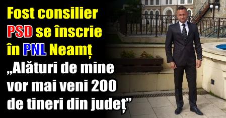 """Fost consilier PSD Piatra-Neamț se înscrie în PNL. """"Alături de mine vor mai veni 200 de tineri din județ"""""""