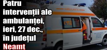 Patru intervenții ale ambulanței, ieri (27 decembrie), în județul Neamț