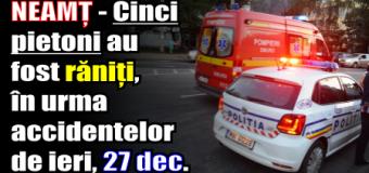 NEAMȚ – Cinci pietoni au fost răniți, în urma accidentelor de ieri (27 decembrie)