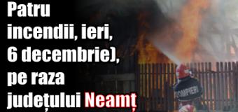 Patru incendii, ieri (6 decembrie), pe raza județului Neamț