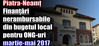 Piatra-Neamț – Finanţări nerambursabile din bugetul local pentru ONG-uri (martie-mai 2017)