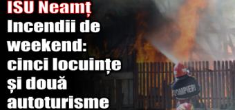 ISU Neamț – Incendii de weekend – cinci locuințe și două autoturisme