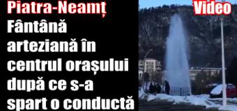 Piatra-Neamț – Fântână arteziană în centrul orașului după ce o conductă s-a spart