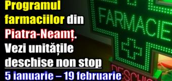 Programul farmaciilor din Piatra-Neamț. Vezi unitățile deschise non stop – 5 ianuarie – 19 februarie