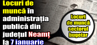 Locuri de muncă în administrația publică din județul Neamț – 7 ianuarie