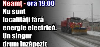 Neamț – ora 19:00 – Nu sunt localități fără energie electrică. Un singur drum înzăpezit