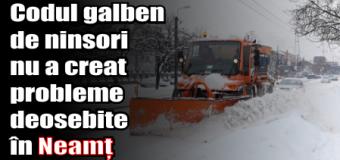 Codul galben de ninsori nu a creat probleme deosebite în Neamț