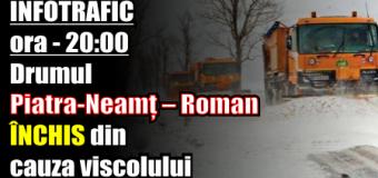 Drumul Piatra Neamț – Roman închis din cauza viscolului