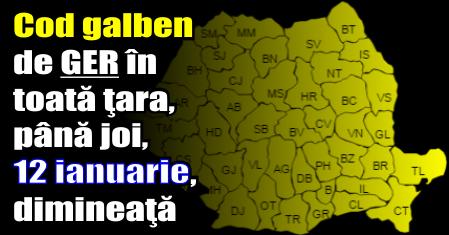 Meteorologii anunţă cod galben de ger în toată ţara, până joi (12 ianuarie) dimineaţă