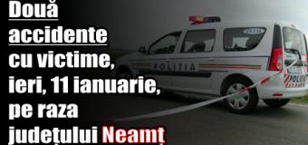 Două accidente cu victime, ieri (11 ianuarie), pe raza județului Neamț