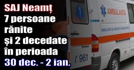 S.A.J. Neamț – 7 persoane rănite și 2 decedate în perioada 30 decembrie 2016 – 2 ianuarie 2017