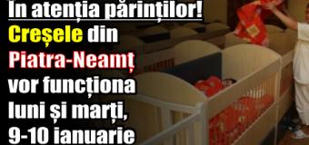 În atenția părinților! Creșele din Piatra-Neamț vor funcționa luni și marți (9-10 ianuarie)